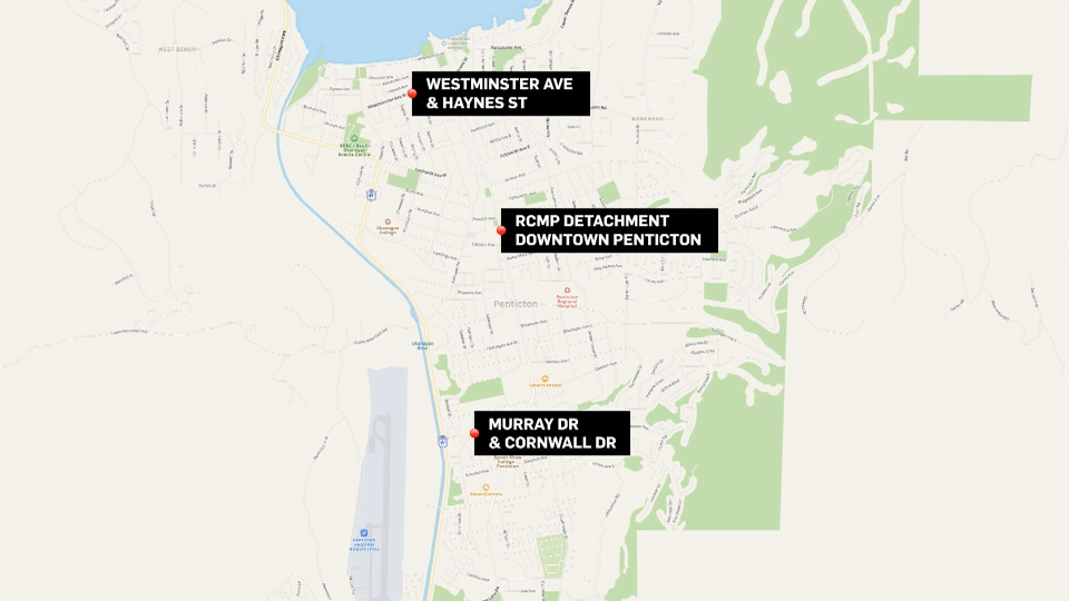 This map shows the three locations involved in a shooting spree in Penticton that left four people dead on April 15, 2019.