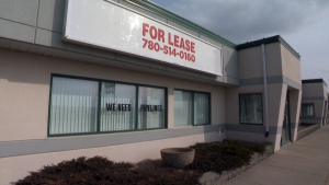 An empty commercial building in Drayton Valley, Alta.