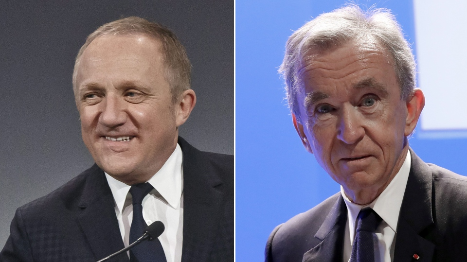 French billionaires, Francois-Henri Pinault, left, and Bernard Arnault are seen in this combination photo (AP / Michel Euler / Christophe Ena)