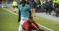Toronto FC defender Justin Morrow (2) is tripped up by Club Atletico Independiente forward Omar Browne (99) during first half CONCACAF Champions League soccer action in Toronto on Tuesday, February 26, 2019. The Montreal Impact have acquired Panama international midfielder Browne on a loan agreement. THE CANADIAN PRESS/Nathan Denette