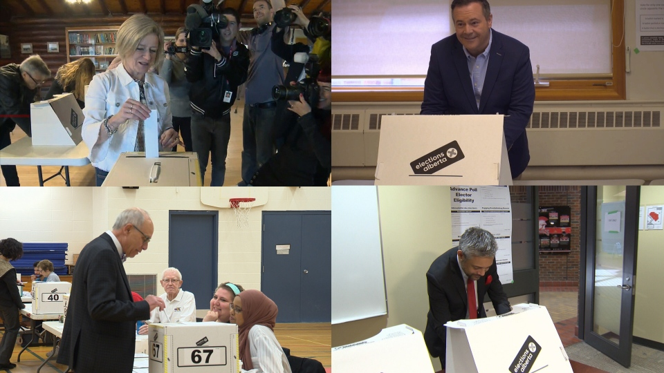 Rachel Notley, Jason Kenney, Stephen Mandel and David Khan vote in the 2019 provincial election.