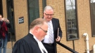 Robert Kissner (right) leaves court in Windsor, Ont., on Tuesday, April 16, 2019. (Teresinha Medeiros / AM800)