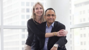 Muhammad Khan poses with Kelly Bryan at Toronto General Hospital, on Tuesday April, 16, 2019. Khan received a liver donation from Bryan, who donated 70 per cent of her liver, in what is believed to be North America's first paired living liver donation. (THE CANADIAN PRESS/Chris Young)