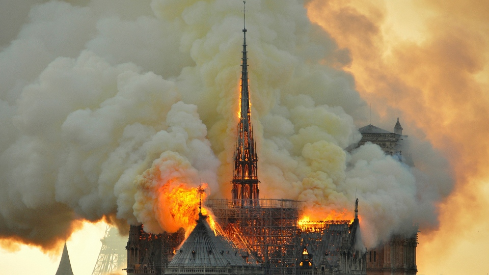 Flames and smoke rise from the blaze at Notre Dame Cathedral in Paris, Monday, April 15, 2019. (AP / Thierry Mallet)