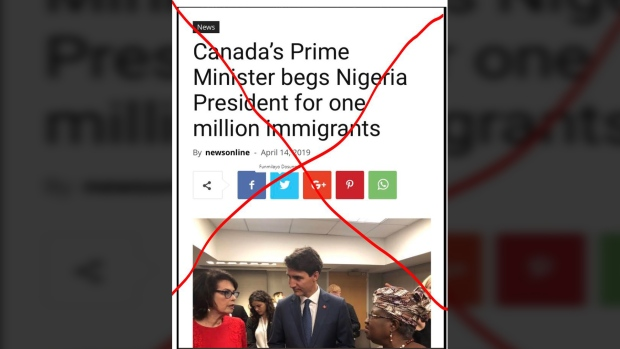 Canada's High Commission to Nigeria is calling out a fake news story that claims Prime Minister Justin Trudeau asked the African country's president to send Canada one million immigrants.