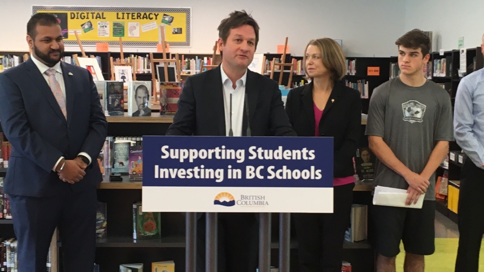 B.C. Education Minister Rob Fleming at Royal Bay Secondary School April 16, 2019. (CTV Vancouver Island)