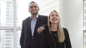 Muhammad Khan poses with Kelly Bryan at Toronto General Hospital, on Tuesday April, 16, 2019. THE CANADIAN PRESS/Chris Young