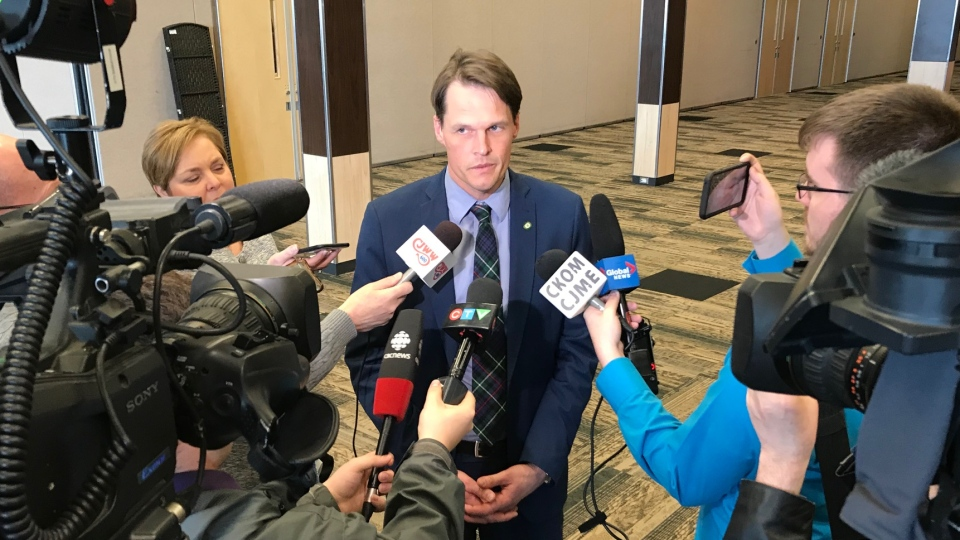 Saskatoon Mayor Charlie Clark speaks to reporters April 16, 2019. (Francois Biber/CTV Saskatoon)