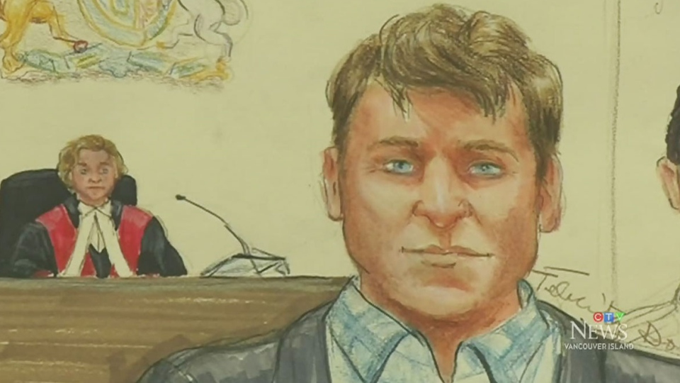 A courtroom sketch of the accused, Andrew Berry. (CTV Vancouver Island)