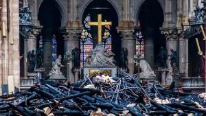 Debris are seen inside Notre Dame cathedral in Paris, Tuesday, April 16, 2019. (Christophe Petit Tesson, Pool via AP)