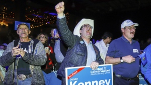 United Conservative Party supporters celebrate in Calgary, Alta., Tuesday, April 16, 2019. Party Leader Jason Kenney has retained his seat of Calgary-Lougheed in the Alberta election. THE CANADIAN PRESS/Jeff McIntosh