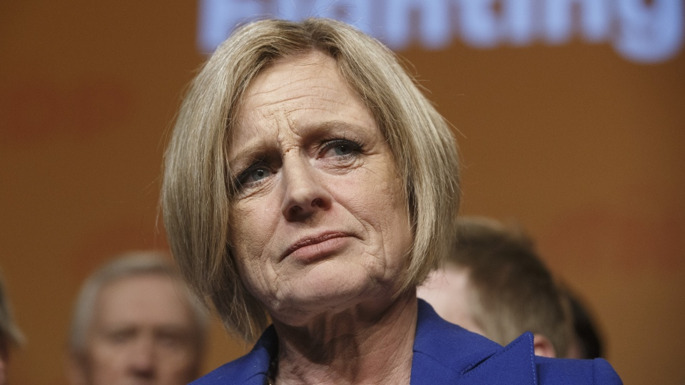 NDP leader Rachel Notley, gives a concession speech after election results, in Edmonton Alta, on Tuesday April 16, 2019. THE CANADIAN PRESS/Jason Franson