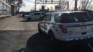 A body found was found in a vehicle in downtown London, Ont. on Wednesday, April 17, 2019. (Gerry Dewan / CTV London)
