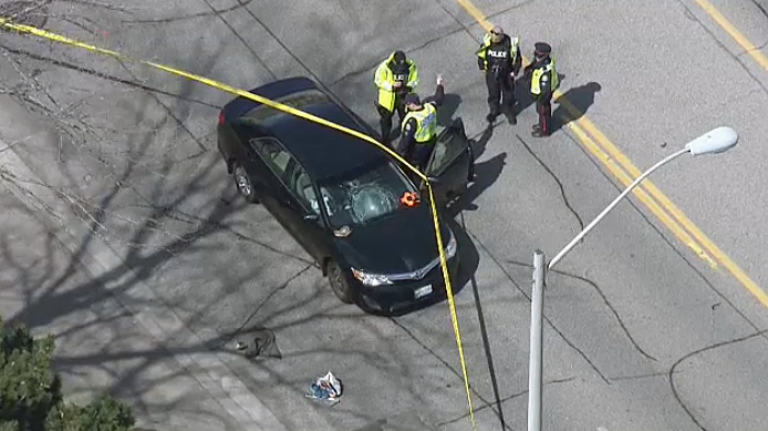 Toronto police investigating after an elderly man was hit by a car in Scarborough on April 17, 2019.