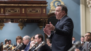 Quebec Premier Francois Legault responds to the Opposition during question period Tuesday, April 16, 2019 at the legislature in Quebec City. THE CANADIAN PRESS/Jacques Boissinot