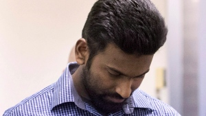Sivaloganathan Thanabalasingham arrives for a detention review at the Immigration and Refugee Board of Canada in Montreal, Thursday, April 13, 2017. (THE CANADIAN PRESS / Graham Hughes)