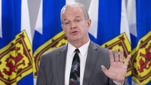 Nova Scotia Justice Minister Mark Furey fields question in Halifax on Tuesday, April 3, 2018.  (THE CANADIAN PRESS/Andrew Vaughan)