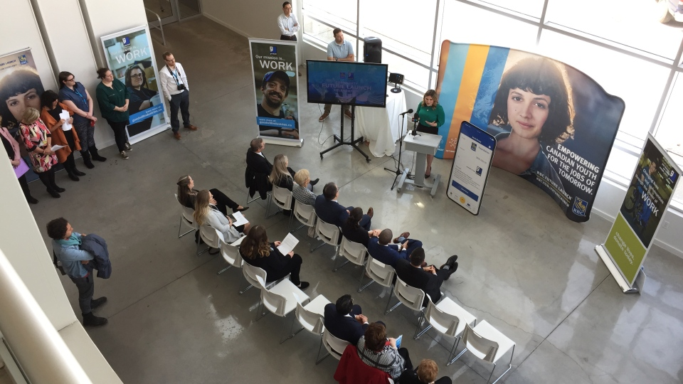 Work First, a new youth employment program, is announced at Goodwill Industries in London, Ont. on Wednesday, April 17, 2019. (Bryan Bicknell / CTV London)