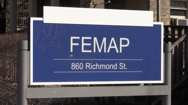 A sign for FEMAP, or the First Episode Mood and Anxiety Program, is seen at the London Health Sciences Centre in London, Ont. on Wednesday, April 17, 2019. (Celine Moreau / CTV London)