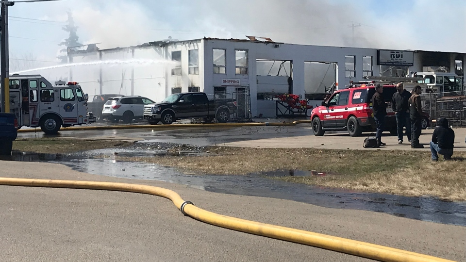 Fire at the Red Deer Ironworks building in Red Deer on April 17, 2019. (TYSON FEDOR/CTV EDMONTON)
