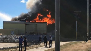 Fire at the Red Deer Ironworks building on April 17, 2019. (Source: Chelsea Bergeron)