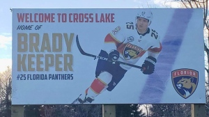 The defenceman came home to signs of their pride, including a billboard declaring Cross Lake as his home and homemade signs congratulating him. (Source: Facebook/Roland Robinson.)