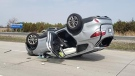 Chatham-Kent OPP provided this image of a rollover on Highway 401 near Communications Road in Chatham, Ont. on Wednesday, April 17, 2019.