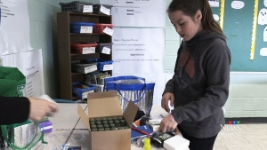 Caleigh Fagan with supplies for her 'comfort care kits' (CTV Atlantic)