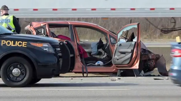 Elderly woman from Toronto pronounced dead after crash on Hwy  401