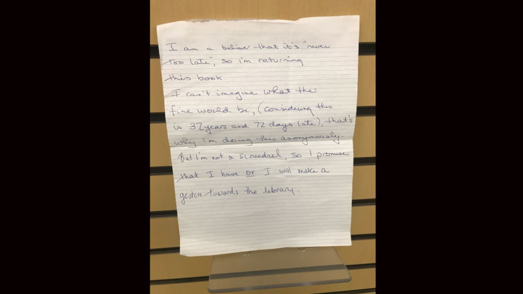 Overdue library book returned 32 years late with handwritten apology