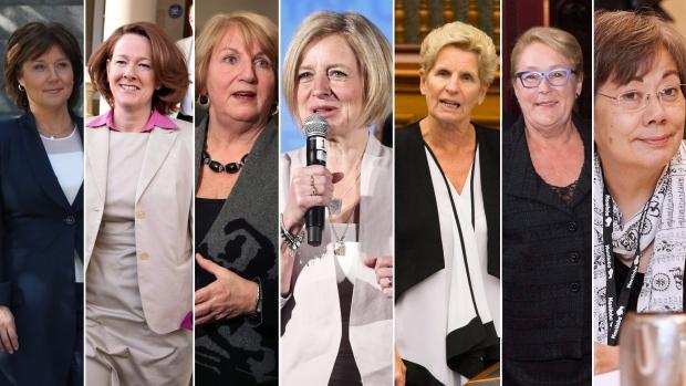 This composite image shows, from left to right, former premiers Christy Clark (B.C.), Alison Redford (Alberta), Kathy Dunderdale (Newfoundland), Rachel Notley (Alberta), Katlheen Wynne (Ontario), Pauline Marois (Quebec), and Eva Aariak (Nunavut).