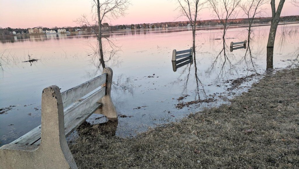 The banks of the St. John River in Fredericton flooded in the spring of 2019 for the second year in a row. (CTV ATLANTIC / LAURA LYALL)