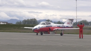A Snowbird airplane arrives at CFB Comox on Wednesday, April 17, 2019. (CTV Vancouver Island)