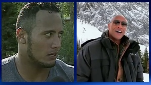 Dwayne 'The Rock' Johnson appears in a CTV Calgary interview from 1995 and in a 2019 video recorded in the mountains near Calgary