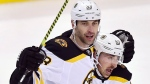 Boston Bruins defenceman Zdeno Chara (33) celebrates his goal against the Toronto Maple Leafs with teammate Brad Marchand (63) during third period NHL playoff hockey action in Toronto on Wednesday, April 17, 2019. THE CANADIAN PRESS/Frank Gunn
