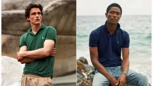 This combination of photos released by Ralph Lauren shows Polo shirts made from recycled plastic bottles. Each shirt is made from an average of 12 bottles collected in Taiwan, where the Polos are made, in partnership with an organization called First Mile. (Ralph Lauren via AP)