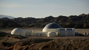 """Mars Base 1"", a C-Space Project, in the Gobi desert, some 40 km from Jinchang in China's northwest Gansu province. WANG ZHAO / AFP"