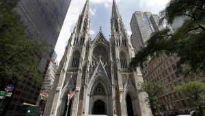 This Sept. 6, 2018, photo shows St. Patrick's Cathedral in New York. (AP Photo/Richard Drew)
