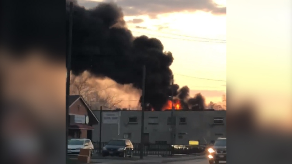 A fire destroyed a residential building on Oxford Street in London, Ont. on Thursday, April 18, 2019. (Source: Kasia Urbaniak)