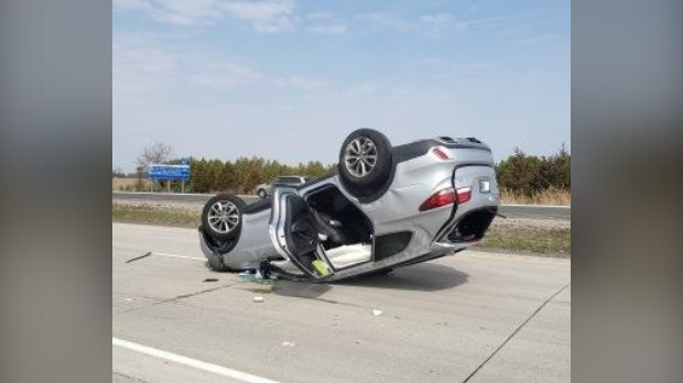 Guelph man charged after flipping vehicle on Hwy. 401