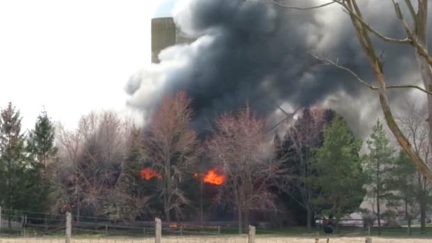 A barn in flames