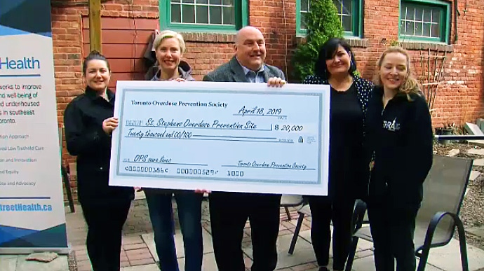 St. Stephen's Community House receives $20,000 from community donations gathered by the Toronto Overdose Prevention Society on April 18, 2019.