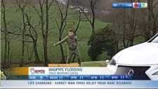 Bagpipe flossing to an Abba song