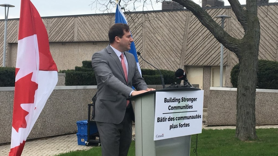 Marco Mendicino, parliamentary secretary to Minister of Infrastructure and Communities François-Philippe Champagne, made the announcement in Windsor on Friday, April 18, 2019. (Ricardo Veneza / CTV Windsor)
