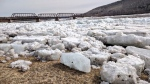 Massive chunks of ice from the St. John River had washed ashore in the Woodstock, N.B., area on April 18, 2019. (Laura Lyall/CTV Atlantic)