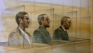 (From left to right): Mohamed Ali Nur, Lenneil Shaw, and his twin brother, Shakiyl Shaw, appear in court on April 18, 2019. (Sketch by John Mantha)