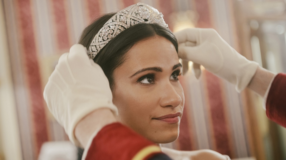 Actor Tiffany Smith as Meghan Markle is shown in a handout photo from the movie Harry & Meghan: Becoming Royal. THE CANADIAN PRESS/HO-Lifetime Canada