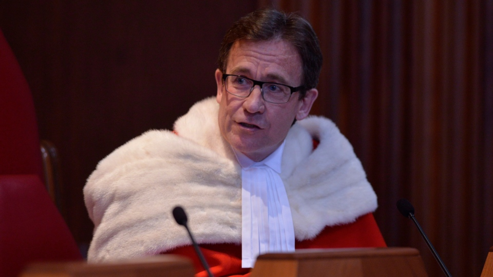 Supreme Court of Canada Justice Clement Gascon speaks during a welcoming ceremony at the Supreme Court of Canada in Ottawa, Monday Oct. 6, 2014. THE CANADIAN PRESS/Adrian Wyld