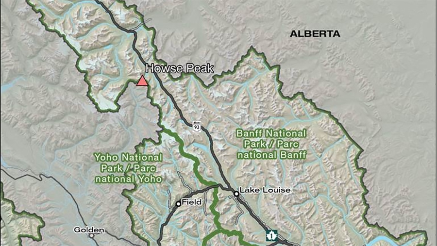 Parks Canada says the three men were attempting to climb the east face of Howse Peak on the Icefields Parkway. (Map: Parks Canada)