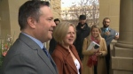 Premier-designate Jason Kenney meets with outgoing premier.
